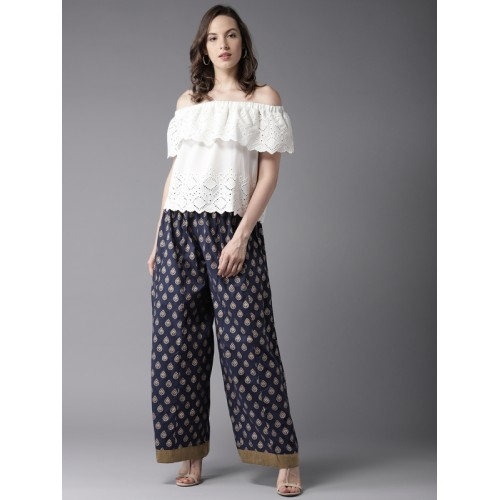 Moda Rapido Women Navy Blue & Golden Printed Flared Palazzos