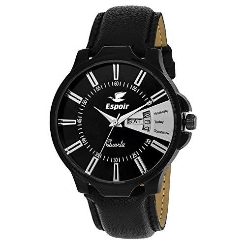 Espoir Analogue Round Black Dial Men's Watch- Es137