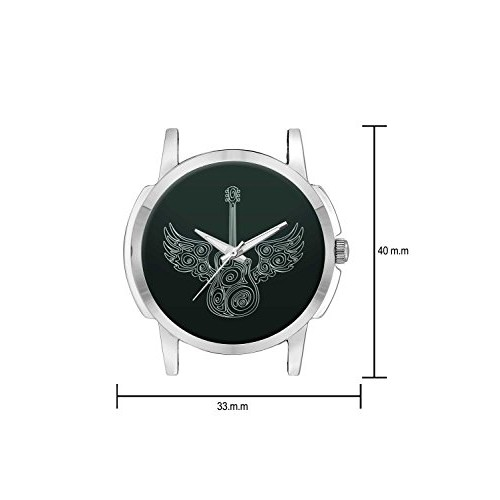 Wrist Watch for Men - BigOwl Guitar Printed Dial Analogue Branded Fashion Watches for Boys - Best Casual Analog Leather Band Watch (Perfect Gift for Guitar Lovers)
