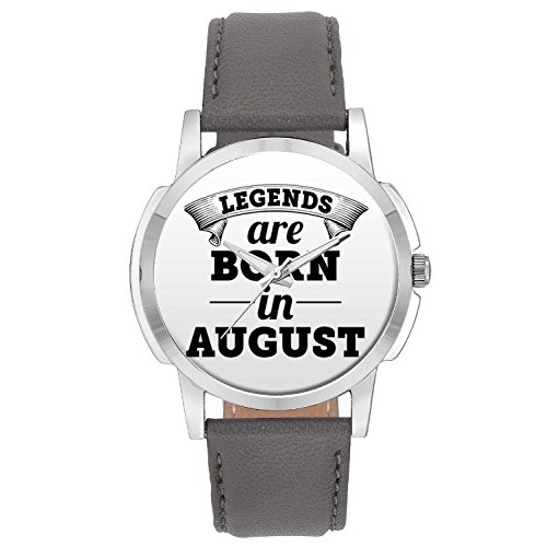 Wrist Watch for Men - BigOwl Legends Are Born In August Branded Quote Fashion Watches for Boys - Best Casual Analog Leather Band Watch (Perfect Birthday Month Gift)