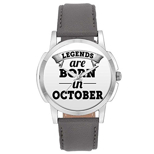 Wrist Watch for Men - BigOwl Legends Are Born In October Branded Fashion Watches for Boys - Best Casual Analog Leather Band Watch (Perfect Birthday Month Gift)
