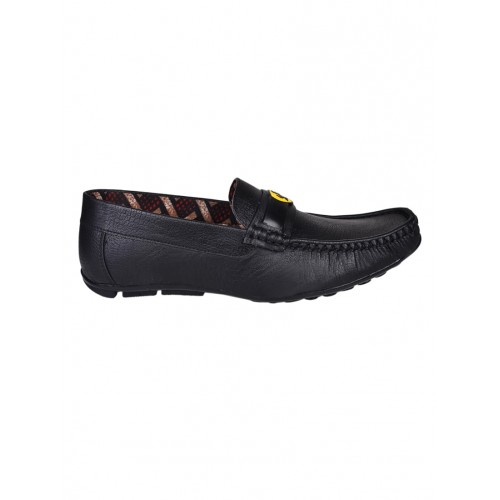Messi black leatherette slip on loafer