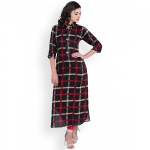 Aujjessa Women Black & Red Printed Pakistani Style Kurta