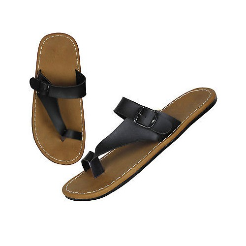 61008b98db762c ... Guardian slippers in Brown   Black Color Leather Mens Thong Slippers ...