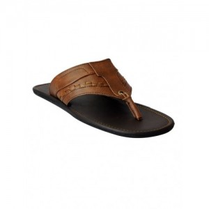 FAUSTO brown leatherette toe separator slipper