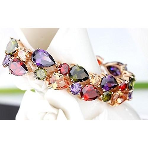 YELLOW CHIMES Sparkling Colors Flowerets Vine Swiss Cubic Zirconia 18K Rose Gold Plated Sparkling Bracelet