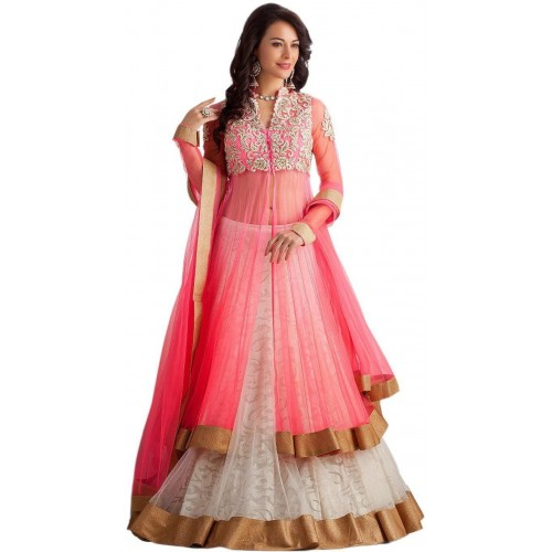 Clickedia Pink Net Embroidered Lehenga, Choli and Dupatta Set