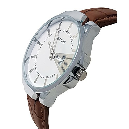 Matrix Analog White Dial,Brown Leather Strap, Day & Date Function Boys & Men Watch - (DD-WH-LTH-1)