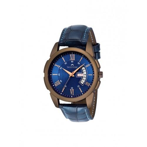 SWISSTONE Swisstone BW145-BLUE Blue Leather Strap Wrist Watch for Men