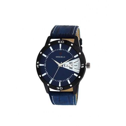 Svviss Bells Blue Dial Leather Strap Day and Date Wrist Watch for Men
