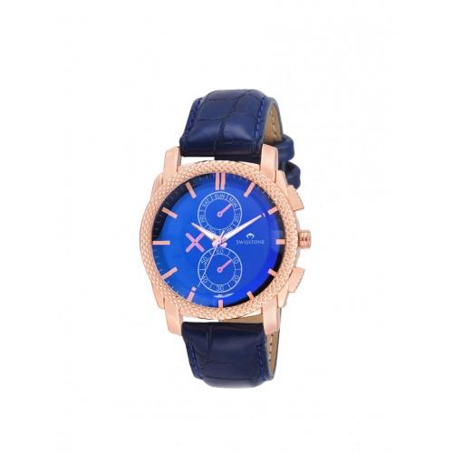 SWISSTONE Swisstone G2549 Blue Leather Strap Wrist Watch for Men