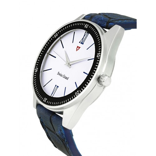 Swiss Grand SG-1153 Blue Coloured With Blue Leather Strap Analog Quartz Watch For Men