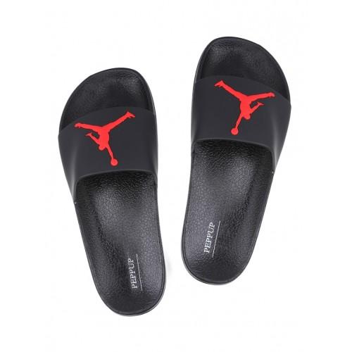 Appe black rubber slip on flip flops
