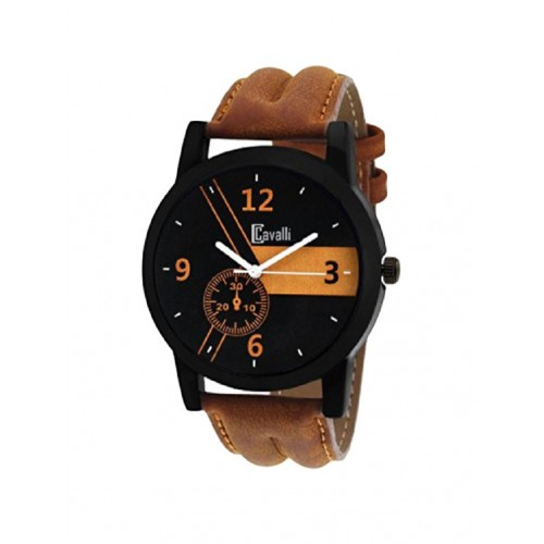CAVALLI Cavalli Casual Analogue Tan Leather Strap Multicolour Dial Men's Watch CW-333