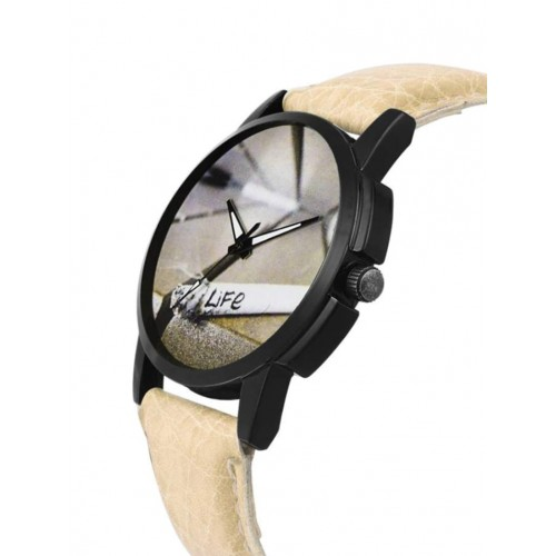 Frix Times Leather Strap Cigrate Dial Watch