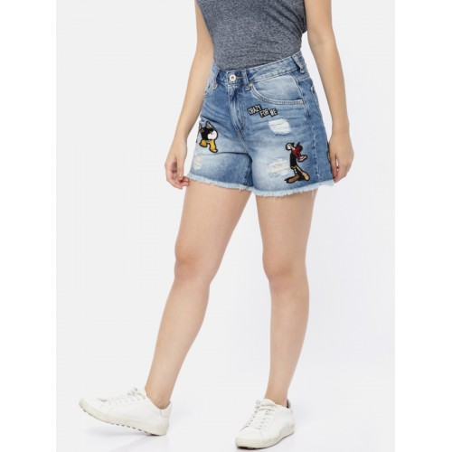 ONLY Women Blue Self Design Slim Fit Denim Shorts