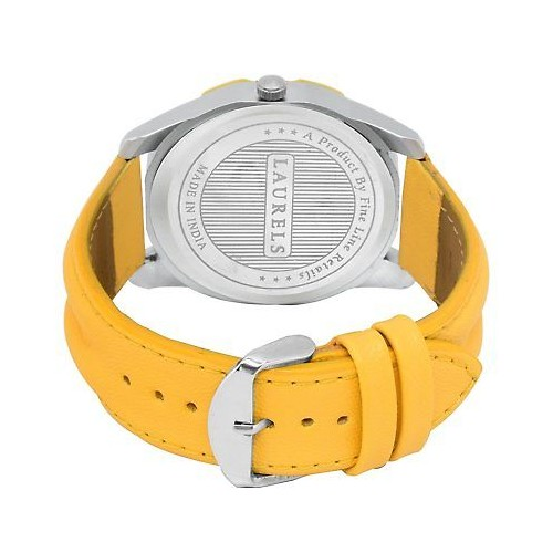 Laurels Yellow Color Day & Date Analog Men's Watch With Strap:LWM-DXTR-II-080807