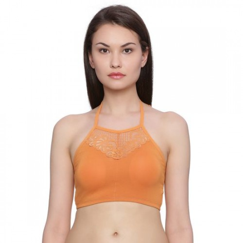 85e8a90ac2e83 Buy Zivame Made-to-Layer Halter Neck Lace Bralette- Orange online ...