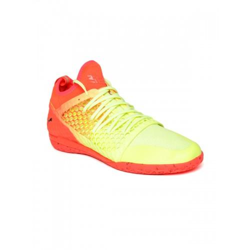 c11763e9b654 ... Puma Men Fluorescent Green & Orange 365 IGNITE NETFIT CT Football Shoes  ...
