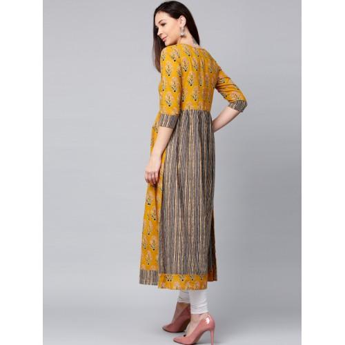 Jaipur Kurti Women Mustard Yellow Printed A-Line Kurta