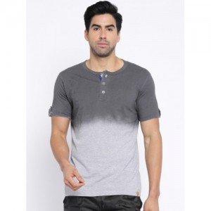 Campus Sutra Grey Ombre-Dyed Henley T-shirt