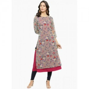 Azira Beige & Rose Printed Layered Kurta