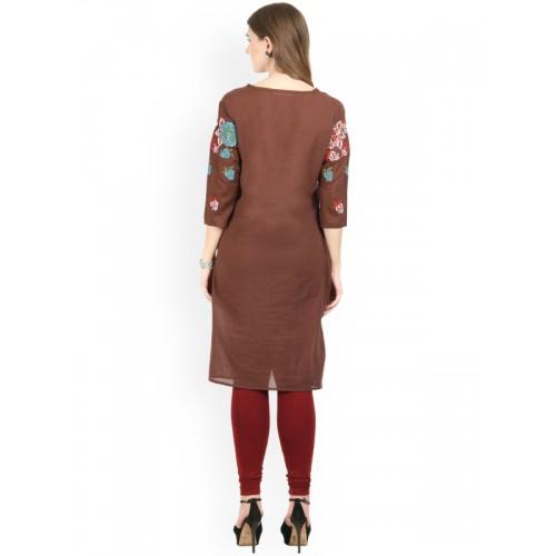 La Firangi Brown Embroidered Kurta