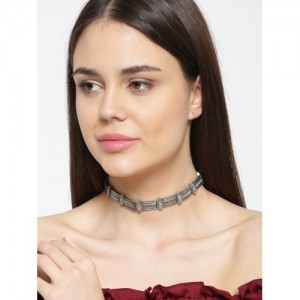 PRITA Oxidised Silver-Plated Choker Necklace