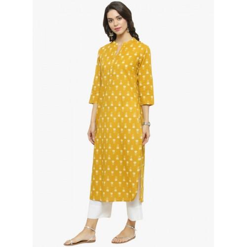 Varanga Mustard Yellow Printed Kurta