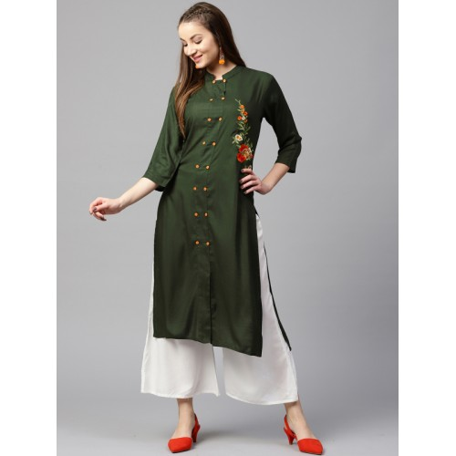 Yufta Women Green Solid Straight Kurta