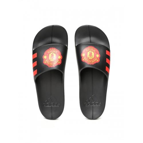 55a0488196b6 ... Adidas Men Black Aqualette CF Manchester United FC Printed Sliders ...