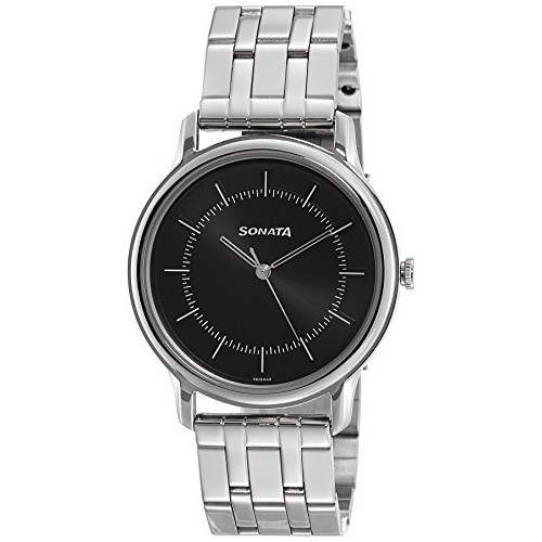 Sonata Sleek Analog Black Dial Men's Watch-7128SM02
