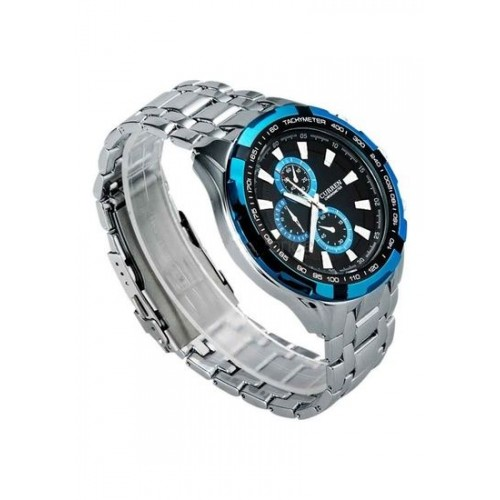 Curren Men Silver Blue Metal Planet Ocean Analog Watch