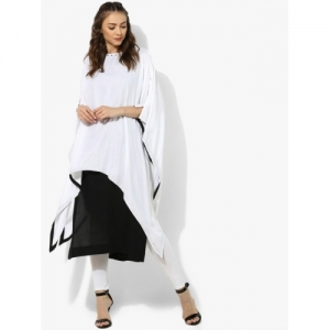 Sangria Women White & Black Colourblocked Kaftan Kurta