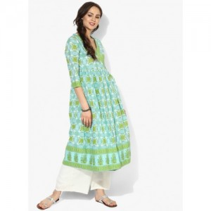 Sangria V Neck Angrakha Style Printed Anarkali With 3/4Th Sleeves