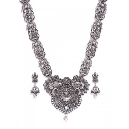 Zaveri Pearls Oxidised Silver-Toned Goddess Lakshmi Textured Jewellery Set