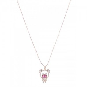 Mahi Gold-Plated Teddy Bear Shaped Swarovski Crystal Pendant with Chain