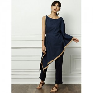 all about you from Deepika Padukone Women Navy Solid A-Line One-shoulder Kurta