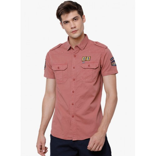 692a30e3ac59 Buy Locomotive Red Solid Denim Shirt online   Looksgud.in