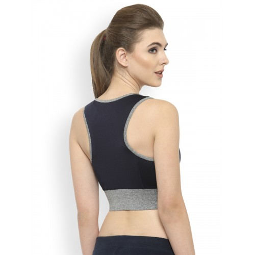 048034af86 ... BUKKUM Navy Blue Solid Non-Wired Lightly Padded Sports Bra BSB19003 ...
