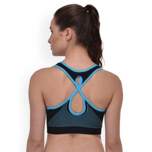 PrettyCat Blue & Black Solid Non-Wired Lightly Padded Sports Bra PCSB20069