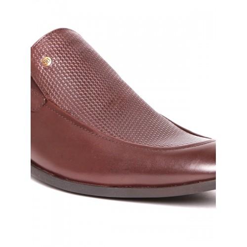 Blackberrys Men Brown Textured Genuine Leather Semiformal Slip-Ons