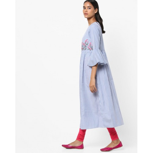 Bitterlime Striped Flared Kurta with Bell Sleeves