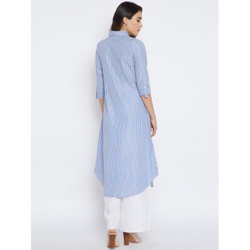 Bitterlime blue cotton a-line kurta