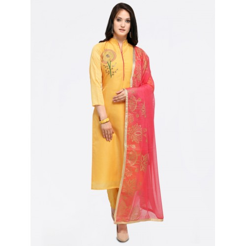 Saree mall Yellow & Pink Embroidered Semi-Stitched Dress Material