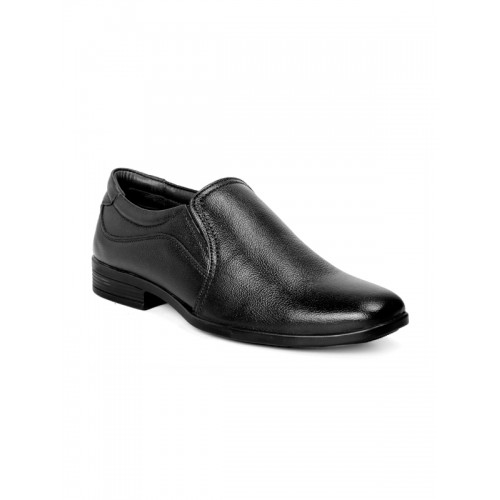 bacca bucci Men Black Leather Formal Slip-On Shoes