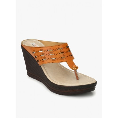 Zachho Tan Lazer Cut Faux Leather TPR 3.5 Slip On Wedges