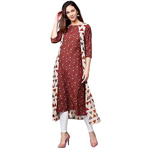 Jaipur Kurti Women Maroon Floral A-Line Cotton Kurta