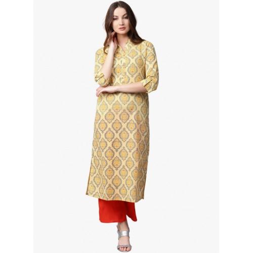 95a21e69f7db Buy Jaipur Kurti Yellow Printed Palazzo Kurta Set online | Looksgud.in