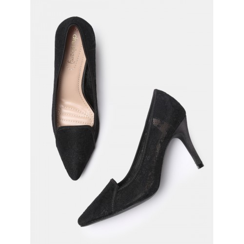 c30a4b567f7 DressBerry Women Black Lace Pumps  DressBerry Women Black Lace Pumps ...